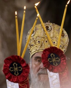 Newly elected Serbia's Patriarch Irinej performs the liturgy in Belgrade