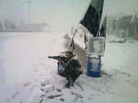 Снег у децембру у Сирији.