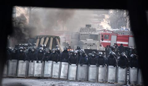 Полицијска барикада у Украјни