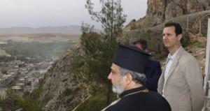 Асад је обишао Мар Саркис, манастир из четвртог века, који је оштећен у борбама.
