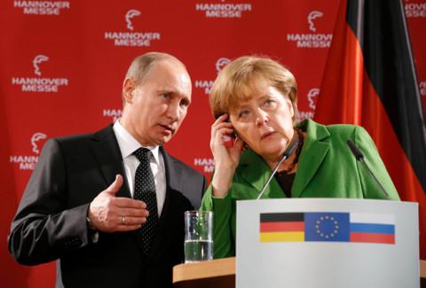 Владимир Путин и Ангела Меркел