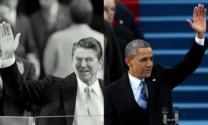 Роналд Реган и Барак Обама