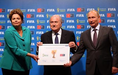 Председник ФИФА Јозеф Блатер, председница Бразила Дилма Русеф и председник Русије Владимир Путин