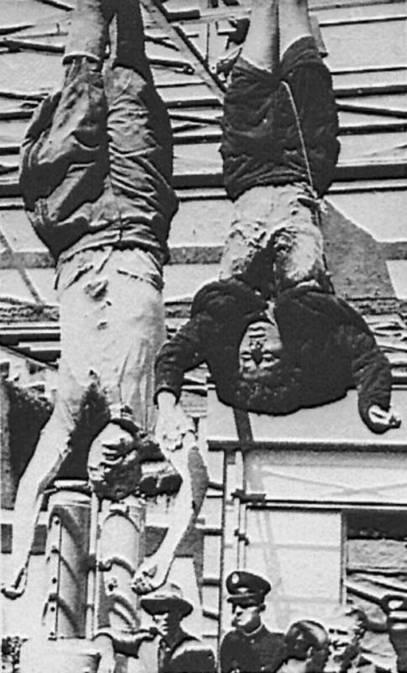 Мусолини стријељан. Талијански партизани хватају преобученог Мусолинија и његову љубавницу Клару Петаћи 28. априла 1945.