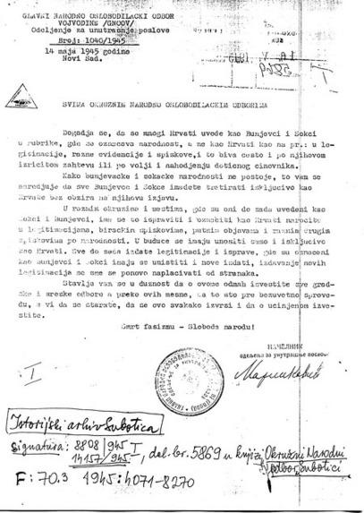 Све Буњевце и Шокце имадете третирати искључиво као Хрвате без обзира на њихову изјаву...
