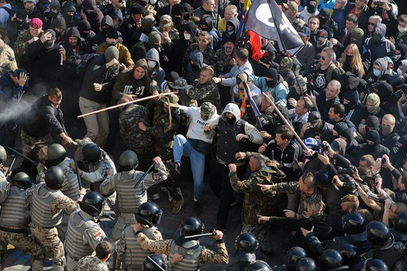 Украјински екстремни националисти се тукли са полицијом хунте