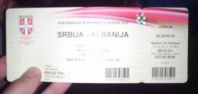 Улазниза за утакмицу Србија-Албанија, штампана без српске ћирилице?