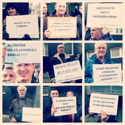 Протест адвоката - ћириличан (Слобода грађанској Србија - латинично?)