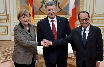 Франсоа Оланд,Ангела Меркел и Петар Порошенко