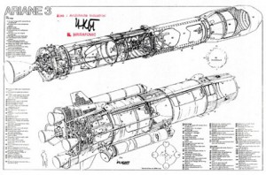 """Комплетан пројекат ракете """"аријана 3"""" одобрен потписом Ненада Хрисафовића српском ћирилицом"""