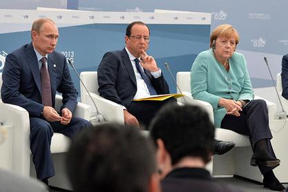 Ангела Меркел,Франсоа Оланд и Владимир Путин