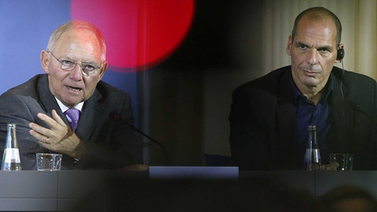Министар финансијса Немачке Волфганг Шојбле и министар финансија Грчке Јанис Варуфакис