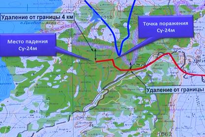 Црвеним је означена линија лета руског Су-24, а плавим – линија лета турског F-16