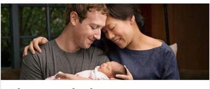 Закерберг и његова супруга са ћерком Макс.