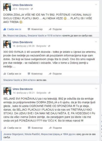 """Б92 укинуо емисију """"Добра земља"""" Урошa Давидовићa"""
